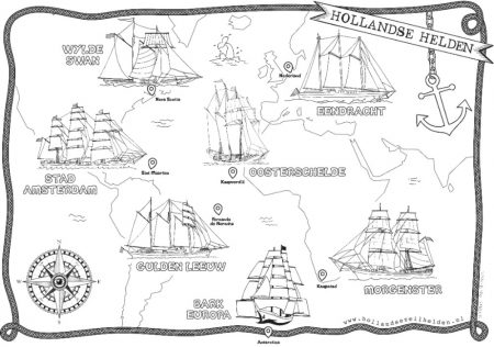 Kleurplaat Tall Ships